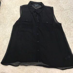Black sheer chiffon button down top