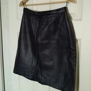 Leather Crown Dresses & Skirts - North Beach black leather skirt
