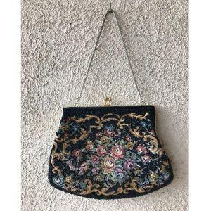 Vintage Handbags - Vintage Beaded Floral Embroidered Purse