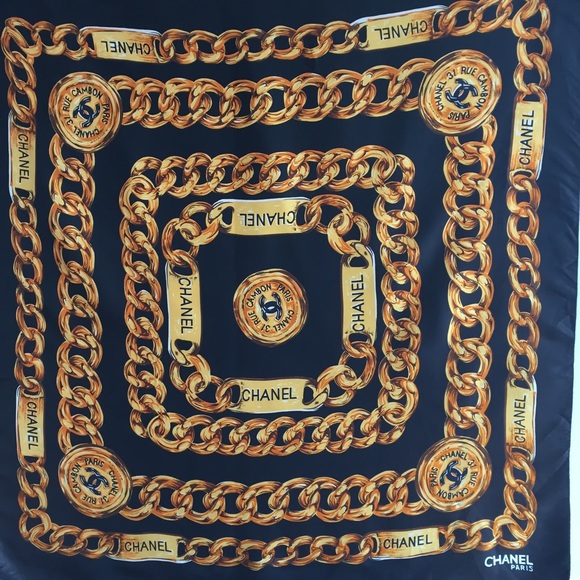 79ea34f62d4 CHANEL Accessories - CHANEL Silk Scarf 31 Rue Cambon Paris Black Gold