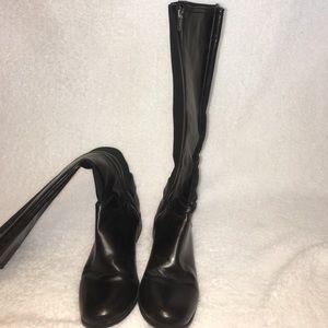 Merona black leather knee high boots