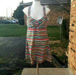 Athleta Striped Dress w/Racer Back