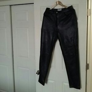 Leather Crown Pants - Votre Nom black leather pants