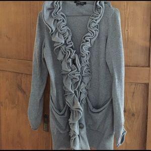 Etcetera ruffle neck grey sweater