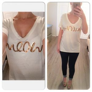 """Tops - """"Meow"""" Gold Sequin Ivory tunic T-shirt"""