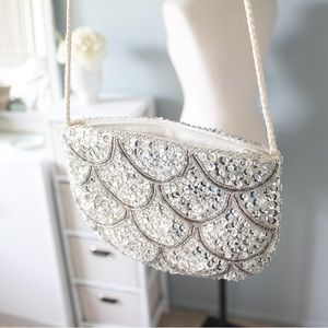 Vintage Scalloped Sequin Clutch Purse
