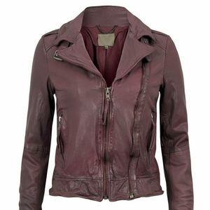 Muubaa Jackets & Blazers - Muubaa Vienna Leather Biker Jacket in Merlot