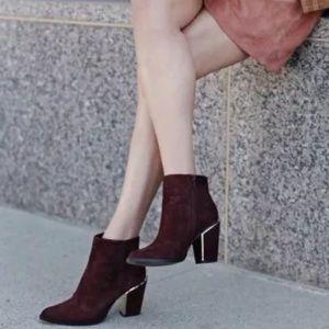 Aldo Shoes - ALDO Digosien Burgundy Booties with Gold Heel