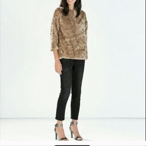 Zara fur sweatshirt. So cozy and stylish!