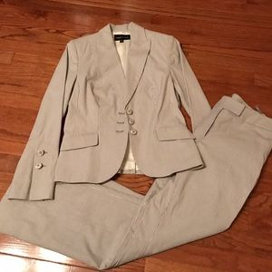 isabel & nina Pants - Light gray white lined pants suit