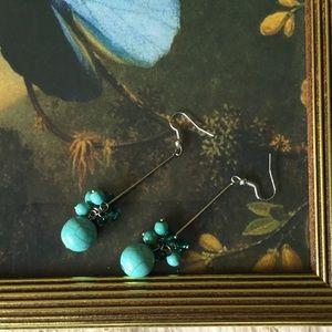Drop cluster earrings. Costume.