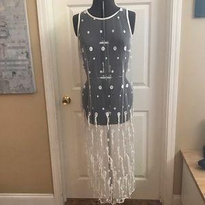 SAM. Dresses & Skirts - White Mesh sleeveless dress with polka dots