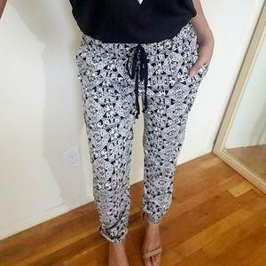 Pants - BLACK WHITE PRINT JOGGER PANTS