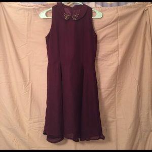 Cotton On Dresses & Skirts - Cotton On Wine Peter Pan Collar Dress