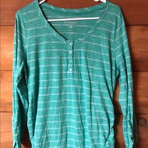 Teal green striped maternity top