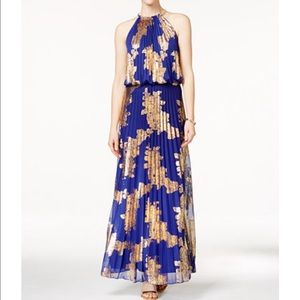 MSK Dresses & Skirts - Metallic-Print Pleated Blouson Gold in Blue
