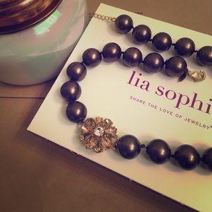 Lia Sophia Jewelry - Lia Sophia black pearl necklace + pink/gold jewel