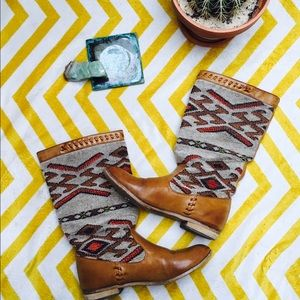Wanted Shoes - Boho Leather Printed Boots