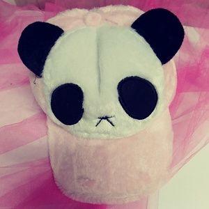Fuzzy Pink Panda Bear Hat