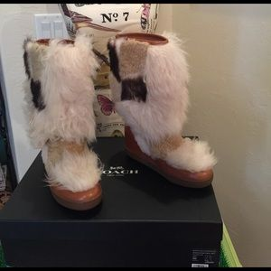 Coach Sheep Skin Leather Boots
