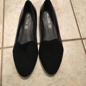 Aldo Shoes - ALDO loafers black velvet with gold heel. New!