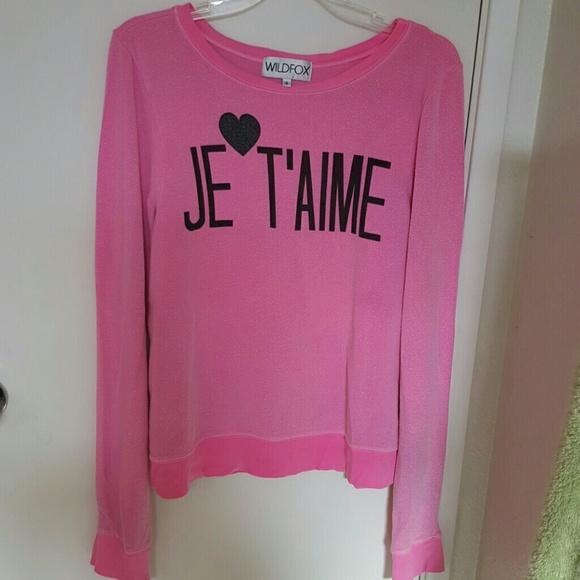 Wildfox Tops - Wildfox Jetaime pink sweatshirt