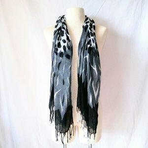 2for1 BLACK & White Animal Print Scarf