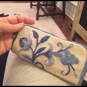 1960s vintage crewel work blue floral glasses case