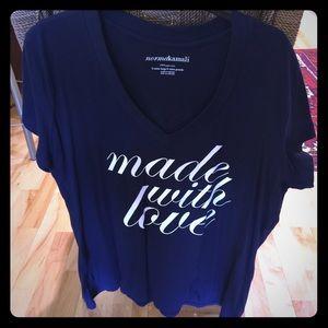"Norma Kamali Tops - Navy ""Made With Love"" Norma Kamali T-Shirt"