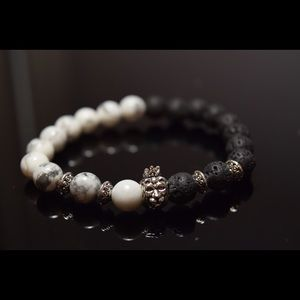 Other - Men's Bracelet Crown Lion Head Lava Beads
