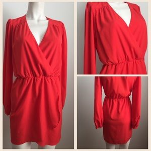 Honey Punch Dresses & Skirts - Red Faux Wrap Dress