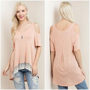Tops - Cold Shoulder Lace Bottom Tee •SALE•