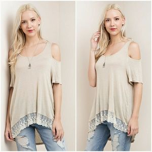 Tops - Cold Shoulder Lace Bottom Tee