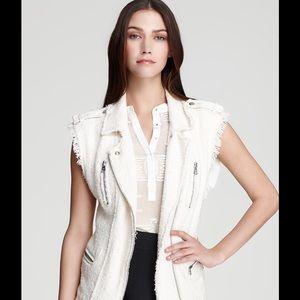 Rebecca Taylor Jackets & Blazers - Rebecca Taylor White Tweed Leather Vest Size XS