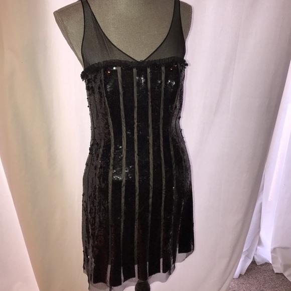 Bcbg Dresses Black Sequined Gatsby Dress Poshmark
