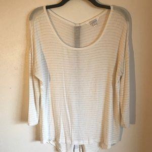 3/4 Sleeve Stripped Shirt | Zipper Back