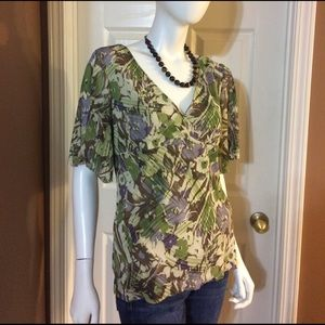 Axcess Tops - Axcess Green, Purple & Brown Floral Top