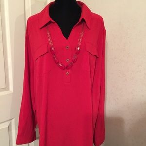 Catherines Tops - Maggie Barnes red 1/4 button down top 3X.