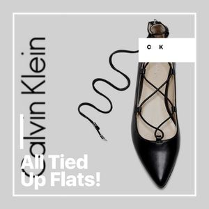 COMFY TIE ME UP CK BLACK POINTED TOE FLAT