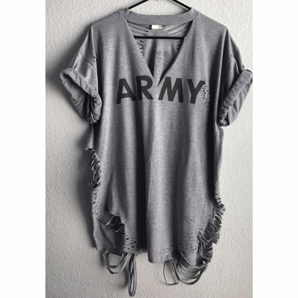 62301744a3b Yeezy Dresses | Distressed Army Tshirt Mini Dress | Poshmark