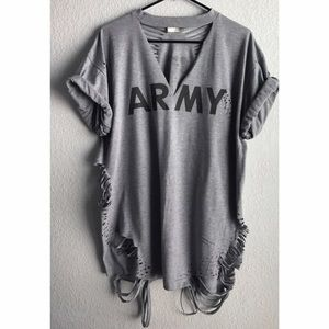 Yeezy Dresses & Skirts - Distressed Army T-Shirt Mini Dress