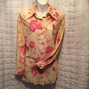 Vintage 70s blouse lightweight floral S