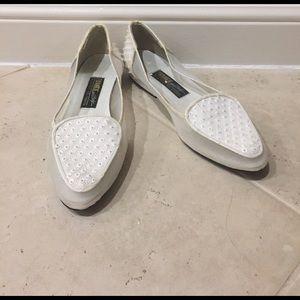 Beverly Feldman Shoes - Vintage Beverly Feldman Studded White Flats