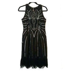 Black Beaded Sequin Fringe Dress