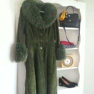 vintage Jackets & Blazers - Gorgeous genuine suede green vintage duster coat