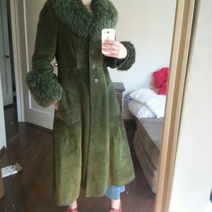 vintage Jackets & Blazers - Gorgeous genuine suede green vintage  coat fur