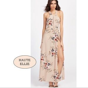 Haute Ellie Dresses & Skirts - 🆕 Apricot Halter Floral Print Split Maxi Dress