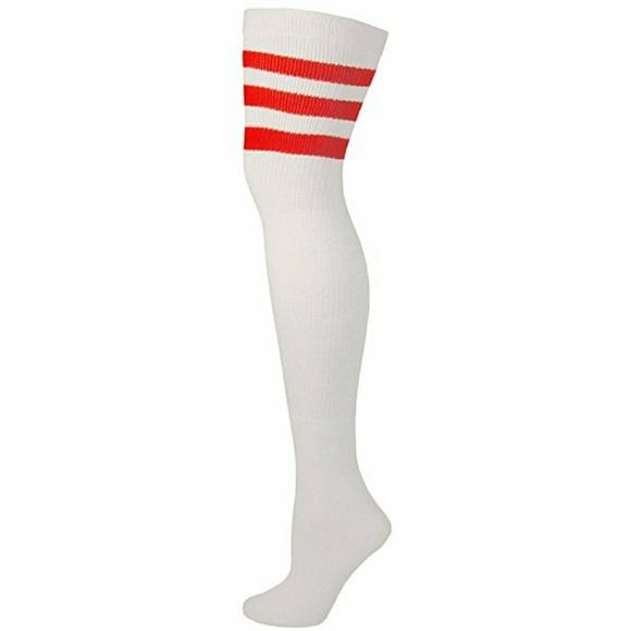 9ea438500 Accessories - Tall White Thigh High Socks w Red Stripe