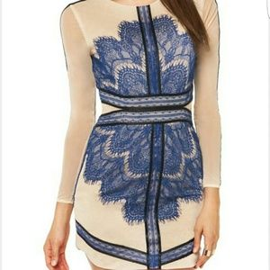 Sheinside Dresses & Skirts - Nude and Blue Lace Dress - SO cute