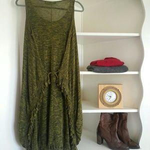 Rebecca michaels Dresses & Skirts - *Great green knit fringe tank dress